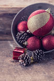 Decorative christmas composition on wooden background. Postcard. Stock Photo