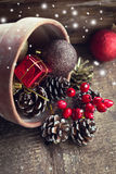 Decorative christmas composition  on wooden background Stock Photos