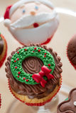 Decorative Christmas cupcake Royalty Free Stock Images