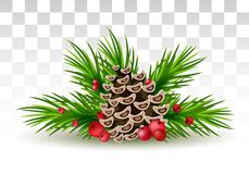 Christmas decorations - pine branches, cones and red berries. o. Decorative christmas decorations with holly berries and pine cones, fir tree branches design Stock Illustration