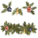 Decorative christmas design element. Christmas tree with decorations. Isolated on white background. A set of patterns. Decorative christmas design element royalty free stock photo