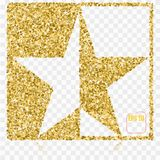 Decorative christmas festive golden five-pointed shining star. D. Ecoration for house design element. Gold confetti concept Stock Image