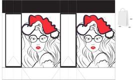 Decorative christmas folder with die cut. Fully editable decorative  illustration Royalty Free Stock Photo
