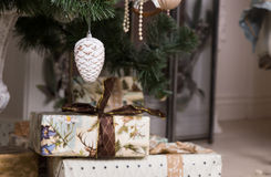 Decorative Christmas gifts Stock Photo