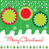 Decorative christmas globes. Decorative christmas card with globes Stock Images