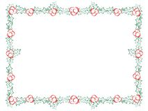 Decorative Christmas holly frame. Vector hand drawn Christmas frame with mistletoe vector illustration