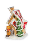 Decorative Christmas house. Isolated on white background with Clipping Path Stock Images