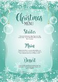 Decorative Christmas menu. Christmas menu with snowflake design Stock Images