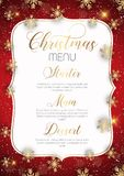 Christmas menu design with golden snowflakes. Decorative Christmas menu design with golden snowflakes Stock Images