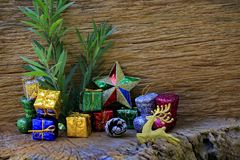 Decorative Christmas Ornament on Wood with Old Wood Background.  stock images