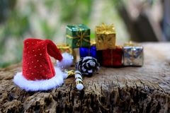 Decorative Christmas Ornament on Wood with Old Wood Background.  stock image