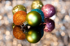 Decorative Christmas ornaments. Decorative Christmas ornament with bokeh background Royalty Free Stock Photo