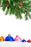 Decorative Christmas ornaments and Christmas tree. Royalty Free Stock Image
