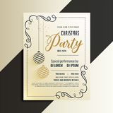 Decorative christmas party flyer with creative xmas ball vector illustration