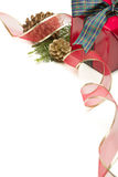 Decorative Christmas Present with Ribbon, Pine Cones and Pine Branches on W Stock Image