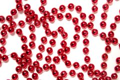 Decorative christmas red beads Royalty Free Stock Image