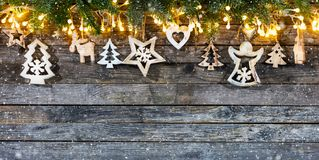 Decorative Christmas rustic background stock images