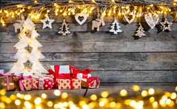 Decorative Christmas rustic background royalty free stock photo