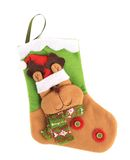 Decorative christmas sock with deer. Stock Photos