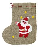 Decorative christmas sock with Santa Claus Royalty Free Stock Images