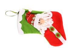 Decorative christmas sock with santa. Royalty Free Stock Photos