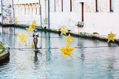 Decorative Christmas stars in Treviso, Italy Royalty Free Stock Photography