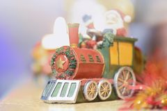 Decorative Christmas train. With Santa Claus Stock Images