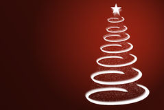 Decorative Christmas tree. Spiralling illustration of Christmas tree and star with red background Royalty Free Stock Photography