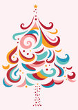Decorative Christmas Tree. Ornamental Christmas tree with a contemporary shapes and colors Stock Photography
