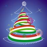 Decorative Christmas tree. Illustration of decorative Christmas tree in streamers in colors of Italian flag Stock Photography