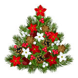 Decorative Christmas tree. Vector illustration of decorative Christmas tree with poinsettia, cones, holly, and mistletoe isolated on a white background Royalty Free Stock Images