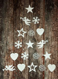 Decorative Christmas tree design on wood Royalty Free Stock Images