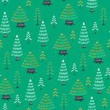 Decorative christmas tree fir seamless pattern. Green decorative christmas tree fir seamless pattern Stock Images