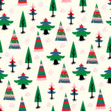 Decorative christmas tree fir seamless pattern. Stock Photo