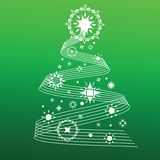 Decorative christmas tree lines and snowflakes Royalty Free Stock Image