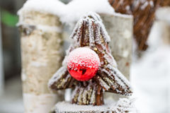 Decorative Christmas tree made of twigs covered by hoarfrost Royalty Free Stock Photos