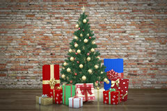 Decorative christmas tree and presents Stock Photography