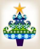 Decorative Christmas Tree. A pretty Christmas tree greetings card design Stock Photo