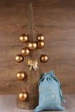 Decorative Christmas tree and Santa bag Stock Photos