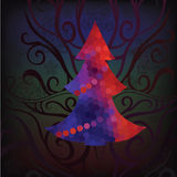 Decorative Christmas tree. Vector illustration. Decorative Christmas tree on a colored background Royalty Free Stock Photography
