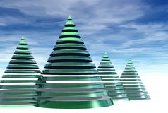 Decorative Christmas trees Royalty Free Stock Photos