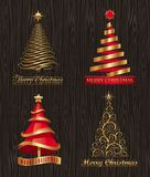 Decorative Christmas trees. Set of golden decorative Christmas trees vector illustration