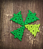 Decorative Christmas Trees on Wooden Background Royalty Free Stock Photography