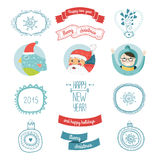 Decorative christmas vector elements. Happy new year. Santa, bird, kids, snowflakes, tea, balls, arrow and border. Vector christmas symbols 2015 isolated on royalty free illustration