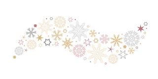 Decorative christmas wave with snowflakes and stars gold silver and red vector illustration