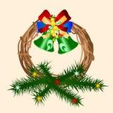 Decorative Christmas wreath. Illustration of decorative Christmas door wreath on light background Stock Photo