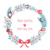 Decorative Christmas wreath celebration postcard Royalty Free Stock Photography