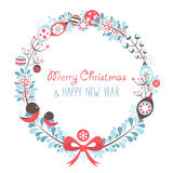 Decorative Christmas wreath celebration postcard Royalty Free Stock Photos