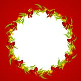Decorative Christmas Wreath Frame. A clip art illustration featuring a simple wreath design decorated with red bows and glowing gold lights set against red Royalty Free Stock Photo