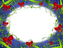 Decorative Christmas Wreath Frame. A background illustration featuring a border of swirling green wreath branches decorated with red bows Royalty Free Stock Photos